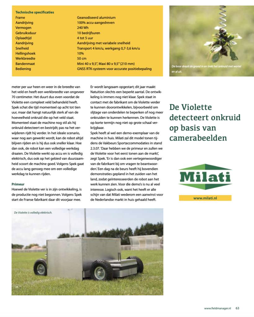 Artikel Fieldmanager over de Violette van Milati Grass Machines