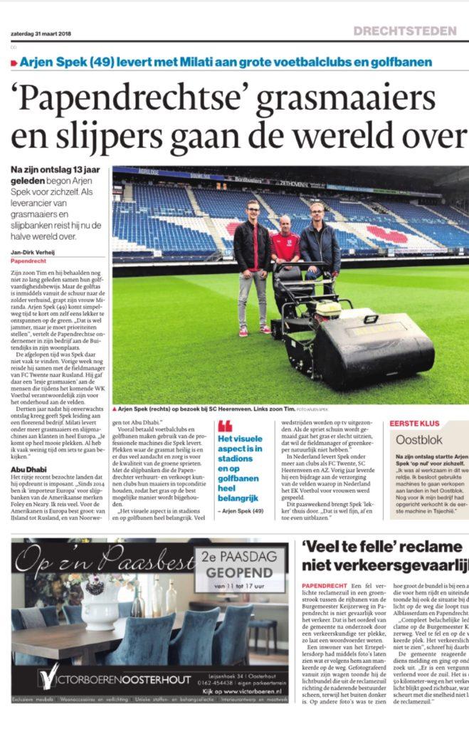 News article about Milati's owner Arjen Spek in Dutch news paper