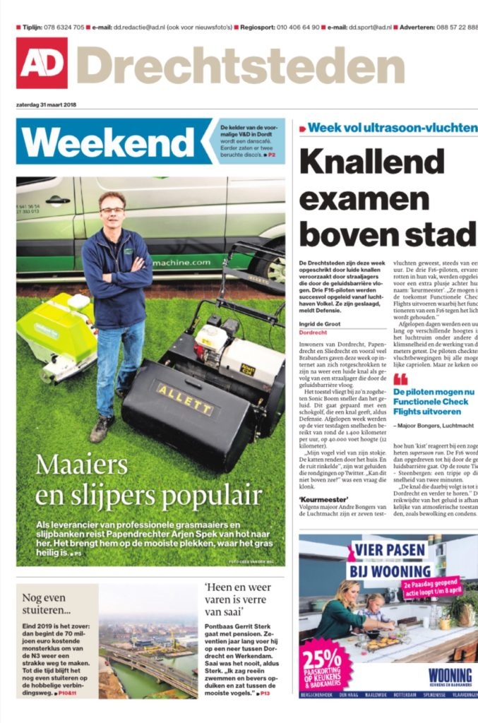 News article in a Dutch news paper with Arjen Spek, owner of Milati Grass Machines