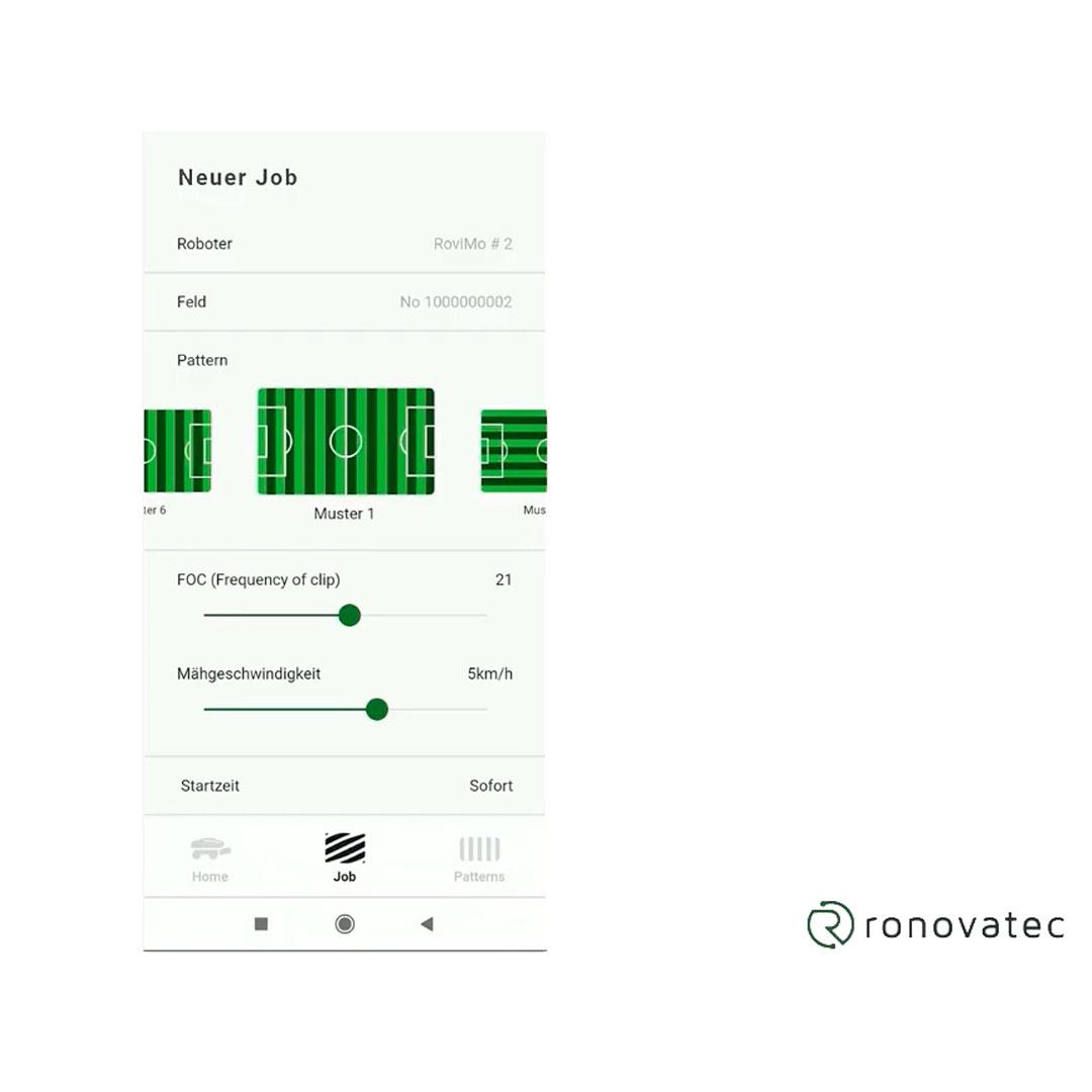 RoviMo bediening via app nieuwe opdracht
