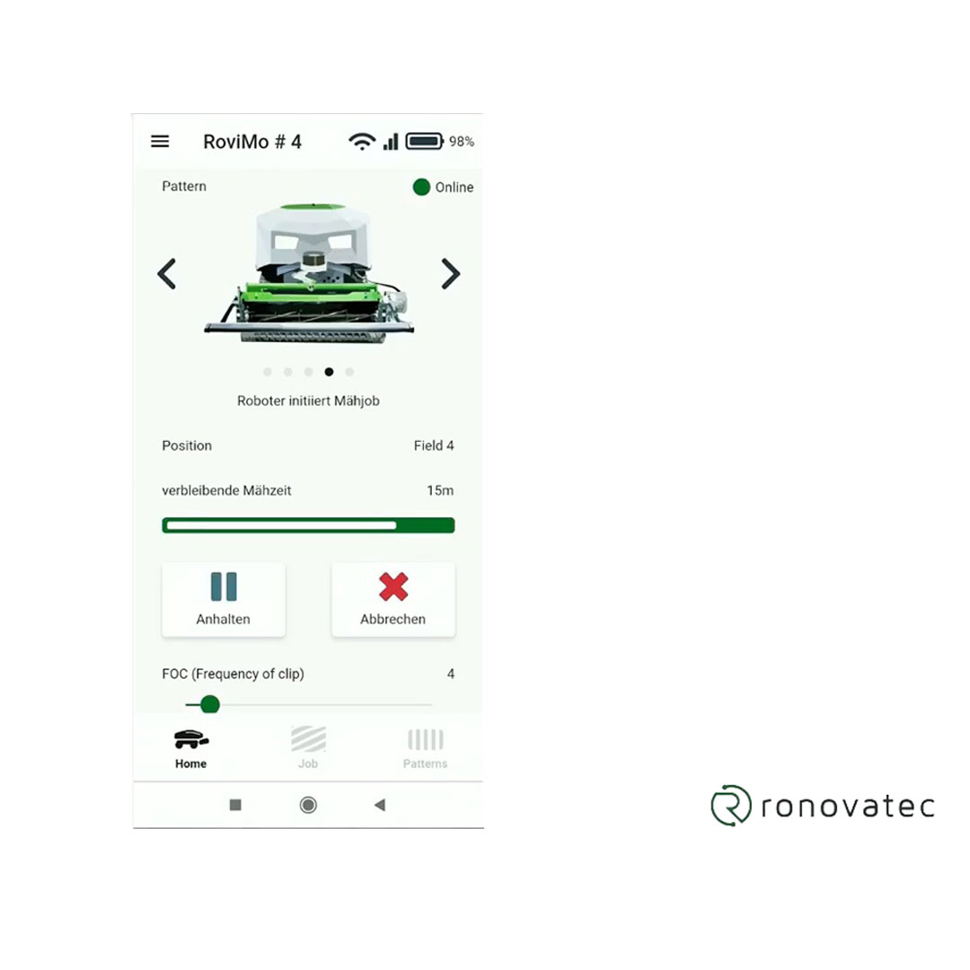 RoviMo bediening via app overzicht